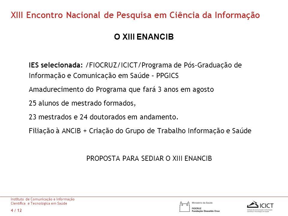 O XIII ENANCIB IES selecionada: /FIOCRUZ/ICICT/Programa de Pós-Graduação de Informação e Comunicação em Saúde – PPGICS Amadurecimento do Programa que