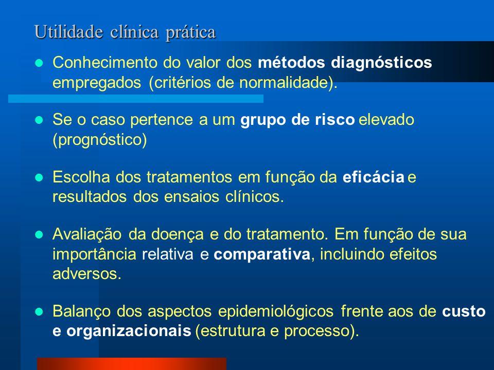 Utilidade clínica prática Conhecimento do valor dos métodos diagnósticos empregados (critérios de normalidade). Se o caso pertence a um grupo de risco