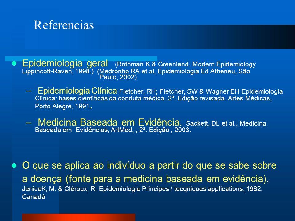 Epidemiologia geral (Rothman K & Greenland. Modern Epidemiology Lippincott-Raven, 1998.) (Medronho RA et al, Epidemiologia Ed Atheneu, São Paulo, 2002