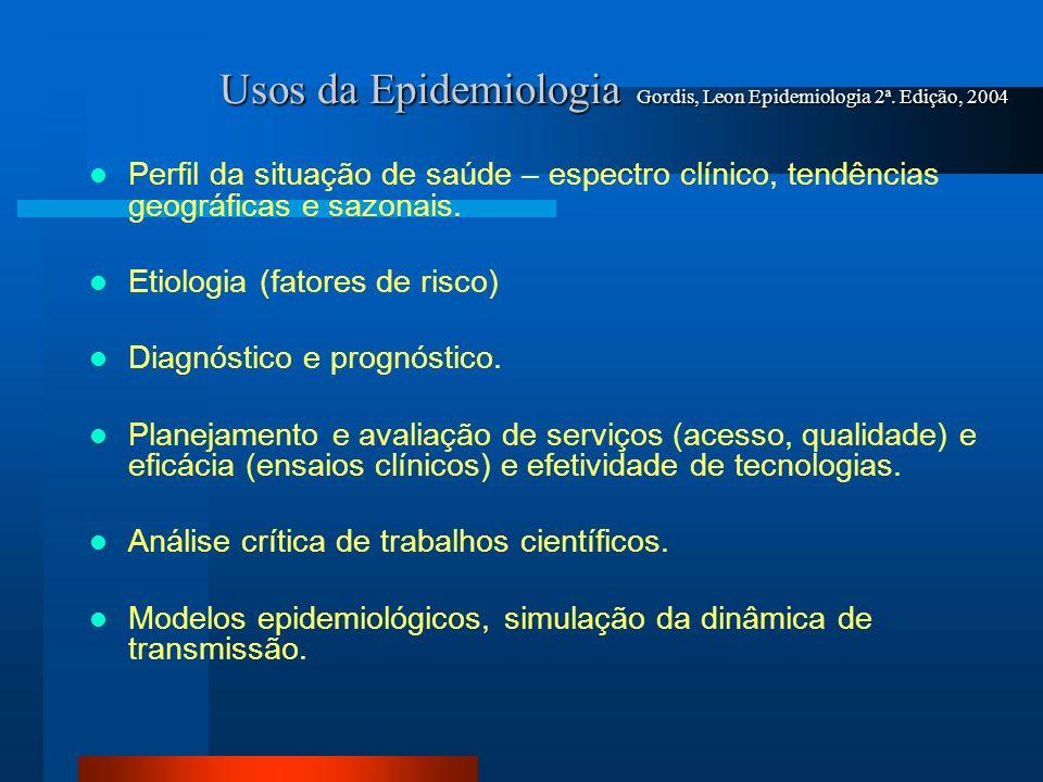 Usos da Epidemiologia Gordis, Leon Epidemiologia 2ª. Edição, 2004 Perfil da situação de saúde – espectro clínico, tendências geográficas e sazonais. E
