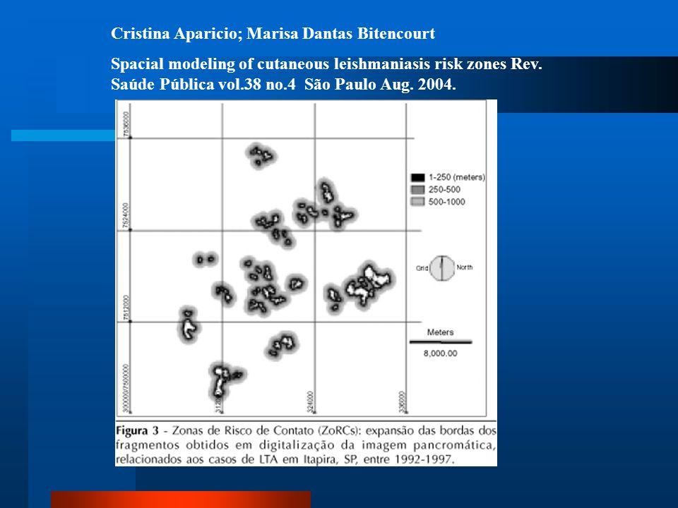 Cristina Aparicio; Marisa Dantas Bitencourt Spacial modeling of cutaneous leishmaniasis risk zones Rev. Saúde Pública vol.38 no.4 São Paulo Aug. 2004.