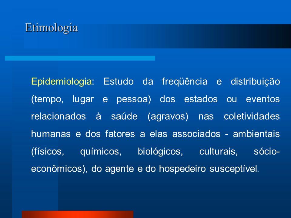 Etimologia Epidemiologia: Estudo da freqüência e distribuição (tempo, lugar e pessoa) dos estados ou eventos relacionados à saúde (agravos) nas coleti