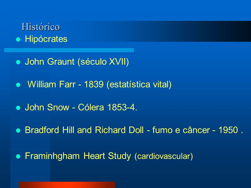 Histórico Hipócrates John Graunt (século XVII) William Farr - 1839 (estatística vital) John Snow - Cólera 1853-4. Bradford Hill and Richard Doll - fum
