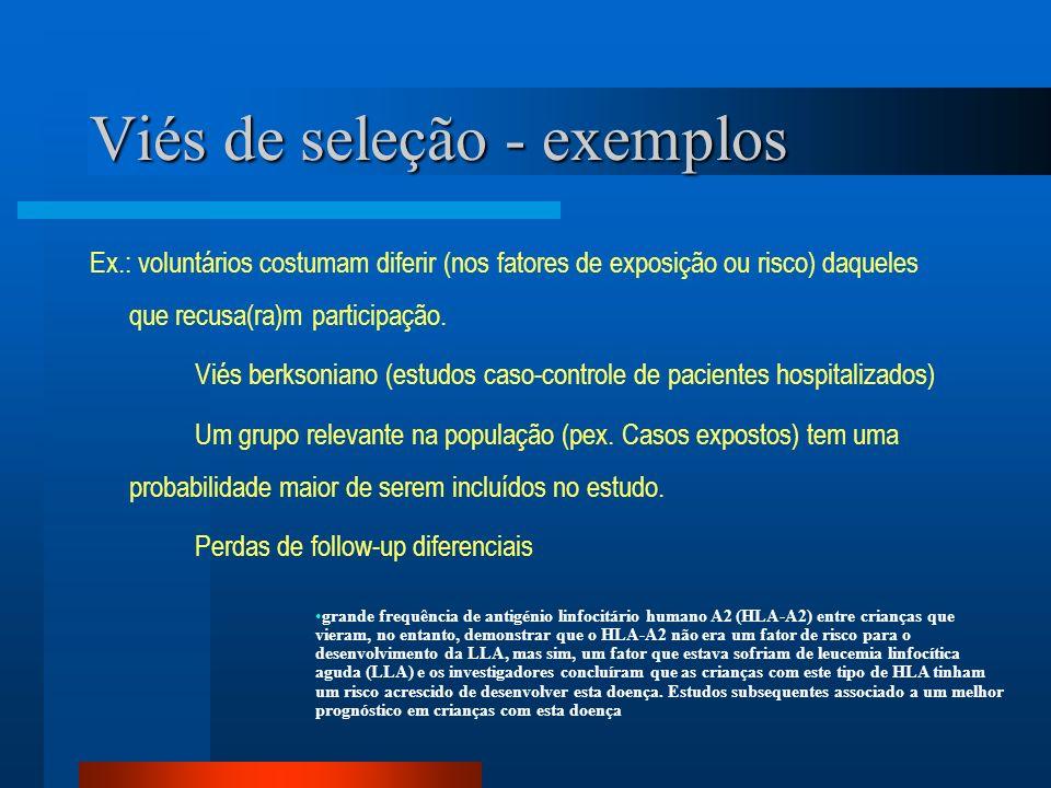 Viés de seleção - exemplos Ex.: voluntários costumam diferir (nos fatores de exposição ou risco) daqueles que recusa(ra)m participação. Viés berksonia