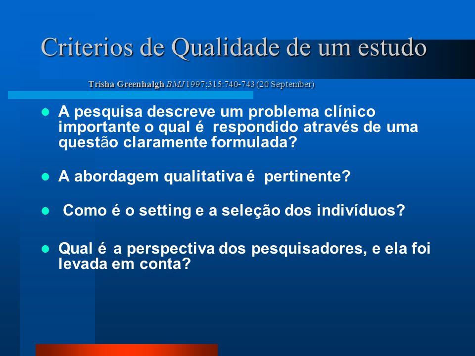 Criterios de Qualidade de um estudo Trisha Greenhalgh BMJ 1997;315:740-743 (20 September) A pesquisa descreve um problema clínico importante o qual é