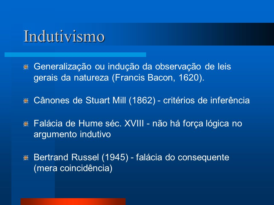 Indutivismo Generalização ou indução da observação de leis gerais da natureza (Francis Bacon, 1620). Cânones de Stuart Mill (1862) - critérios de infe