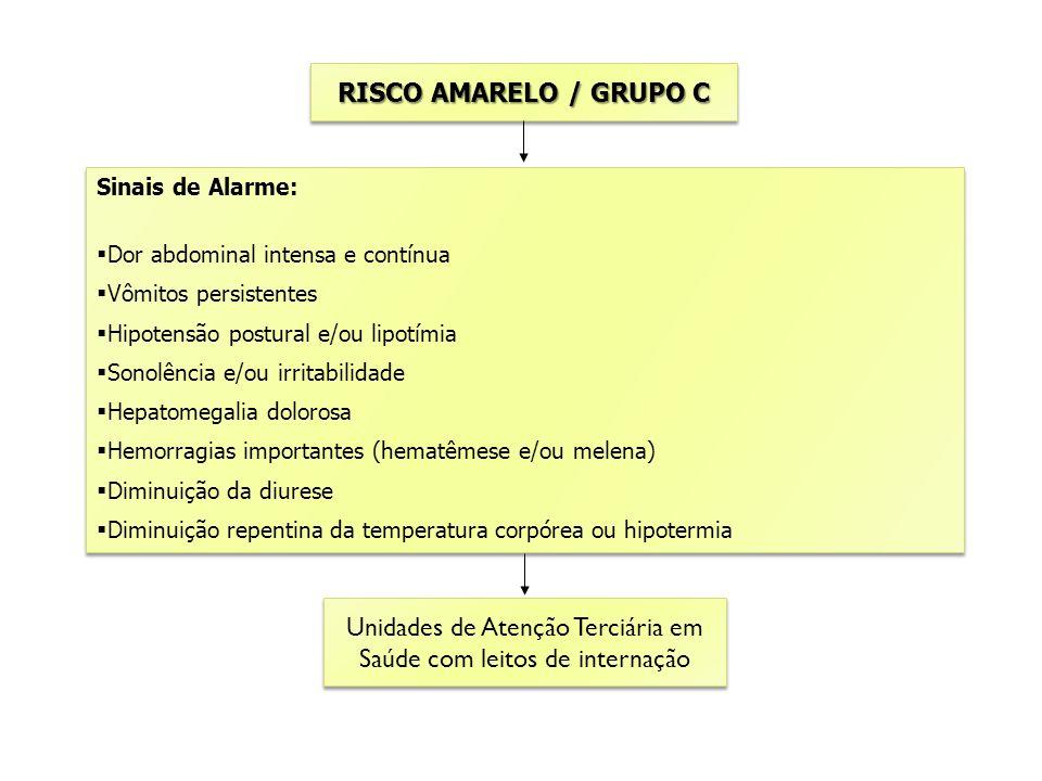 RISCO AMARELO / GRUPO C Unidades de Atenção Terciária em Saúde com leitos de internação Unidades de Atenção Terciária em Saúde com leitos de internaçã
