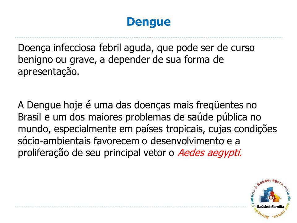 Dengue Doença infecciosa febril aguda, que pode ser de curso benigno ou grave, a depender de sua forma de apresentação. A Dengue hoje é uma das doença