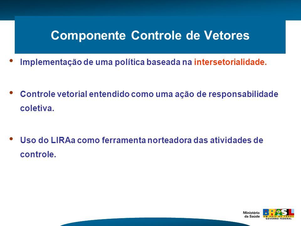 Componente Controle de Vetores Implementação de uma política baseada na intersetorialidade. Controle vetorial entendido como uma ação de responsabilid