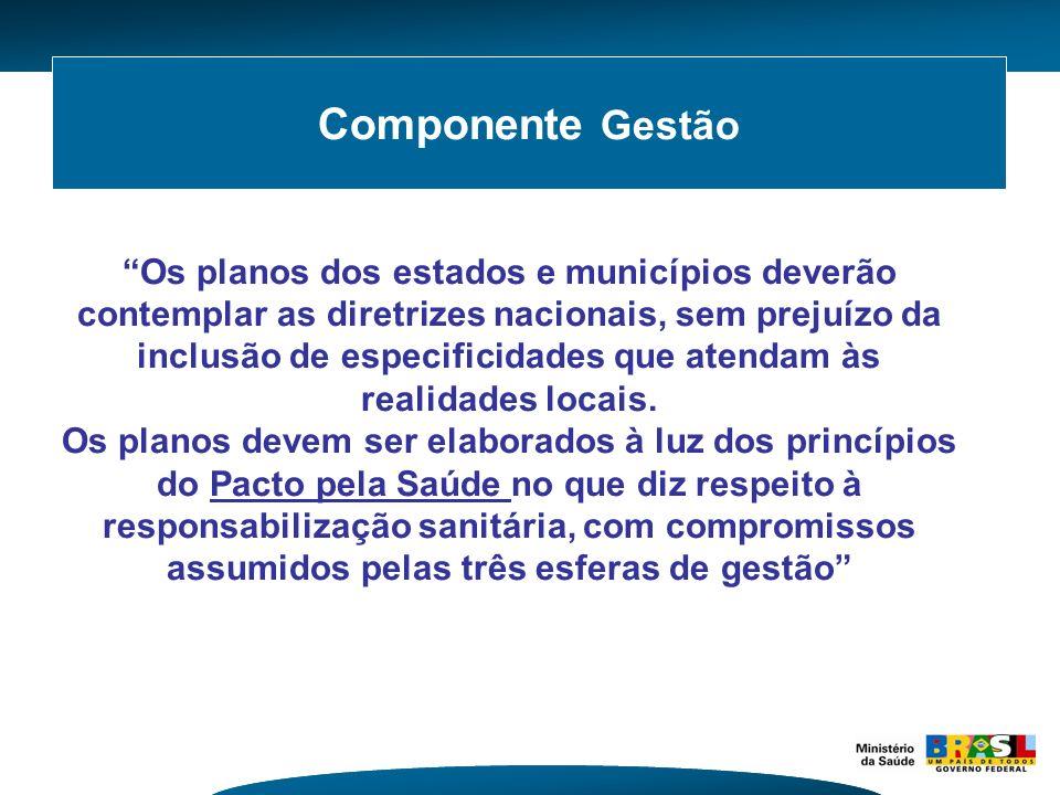 Componente Gestão Os planos dos estados e municípios deverão contemplar as diretrizes nacionais, sem prejuízo da inclusão de especificidades que atend