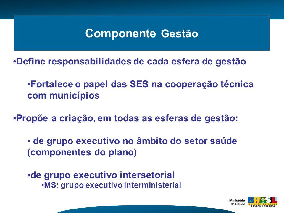 Componente Gestão Define responsabilidades de cada esfera de gestão Fortalece o papel das SES na cooperação técnica com municípios Propõe a criação, e