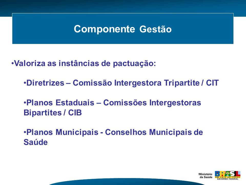 Componente Gestão Valoriza as instâncias de pactuação: Diretrizes – Comissão Intergestora Tripartite / CIT Planos Estaduais – Comissões Intergestoras