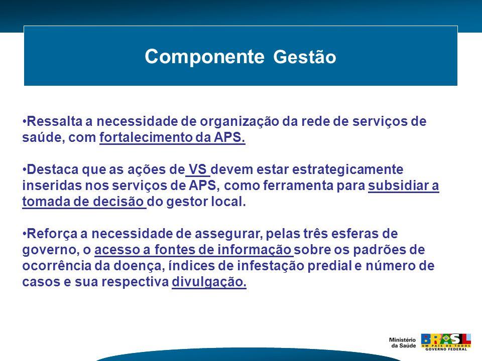 Componente Gestão Ressalta a necessidade de organização da rede de serviços de saúde, com fortalecimento da APS. Destaca que as ações de VS devem esta
