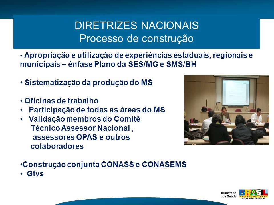 DIRETRIZES NACIONAIS Processo de construção Apropriação e utilização de experiências estaduais, regionais e municipais – ênfase Plano da SES/MG e SMS/