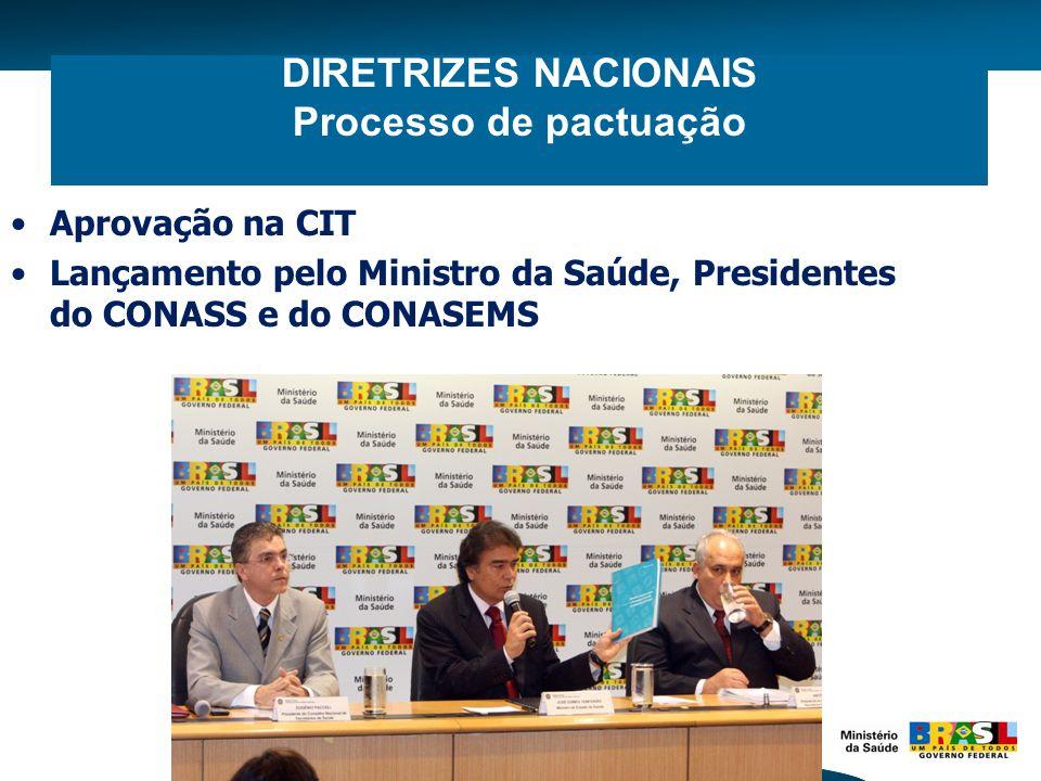 DIRETRIZES NACIONAIS Processo de pactuação Aprovação na CIT Lançamento pelo Ministro da Saúde, Presidentes do CONASS e do CONASEMS