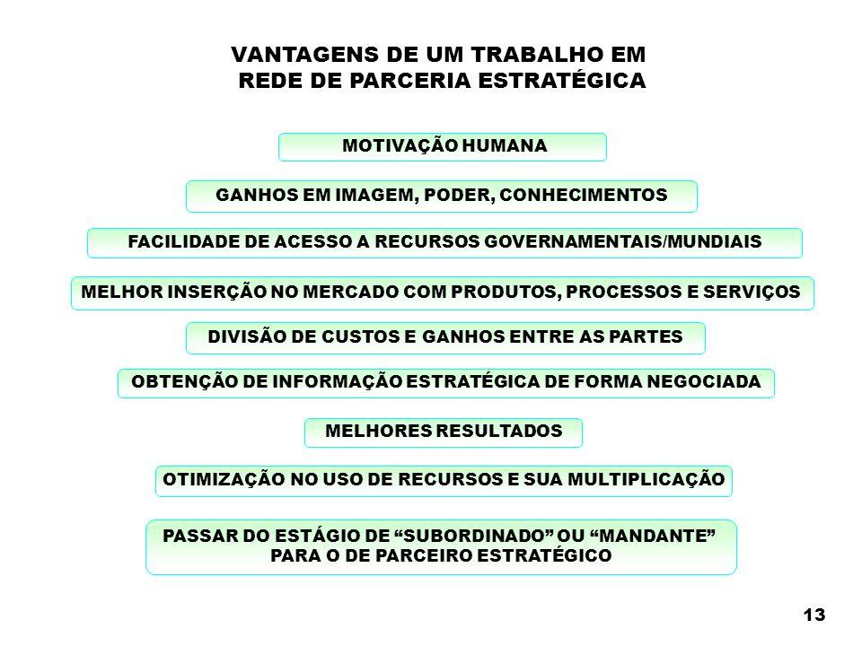 VANTAGENS DE UM TRABALHO EM REDE DE PARCERIA ESTRATÉGICA GANHOS EM IMAGEM, PODER, CONHECIMENTOS MELHOR INSERÇÃO NO MERCADO COM PRODUTOS, PROCESSOS E SERVIÇOS DIVISÃO DE CUSTOS E GANHOS ENTRE AS PARTES OBTENÇÃO DE INFORMAÇÃO ESTRATÉGICA DE FORMA NEGOCIADA FACILIDADE DE ACESSO A RECURSOS GOVERNAMENTAIS/MUNDIAIS MELHORES RESULTADOS OTIMIZAÇÃO NO USO DE RECURSOS E SUA MULTIPLICAÇÃO MOTIVAÇÃO HUMANA PASSAR DO ESTÁGIO DE SUBORDINADO OU MANDANTE PARA O DE PARCEIRO ESTRATÉGICO 13