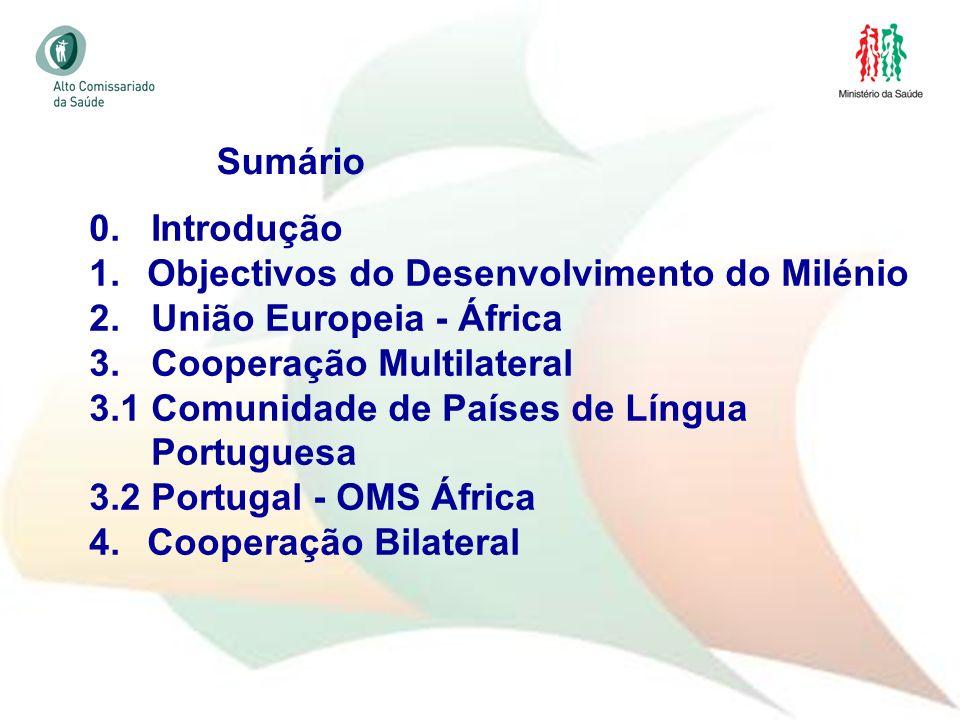 2 0. Introdução 1. Objectivos do Desenvolvimento do Milénio 2. União Europeia - África 3. Cooperação Multilateral 3.1 Comunidade de Países de Língua P