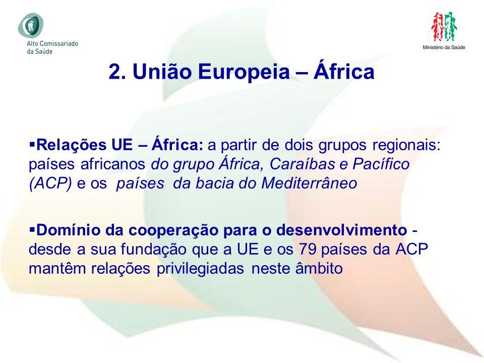 20 Relações UE – África: a partir de dois grupos regionais: países africanos do grupo África, Caraíbas e Pacífico (ACP) e os países da bacia do Medite