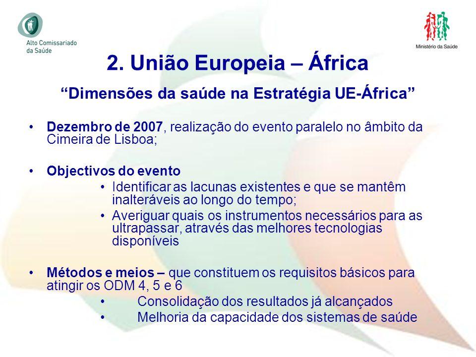26 Dimensões da saúde na Estratégia UE-África Dezembro de 2007, realização do evento paralelo no âmbito da Cimeira de Lisboa; Objectivos do evento Ide