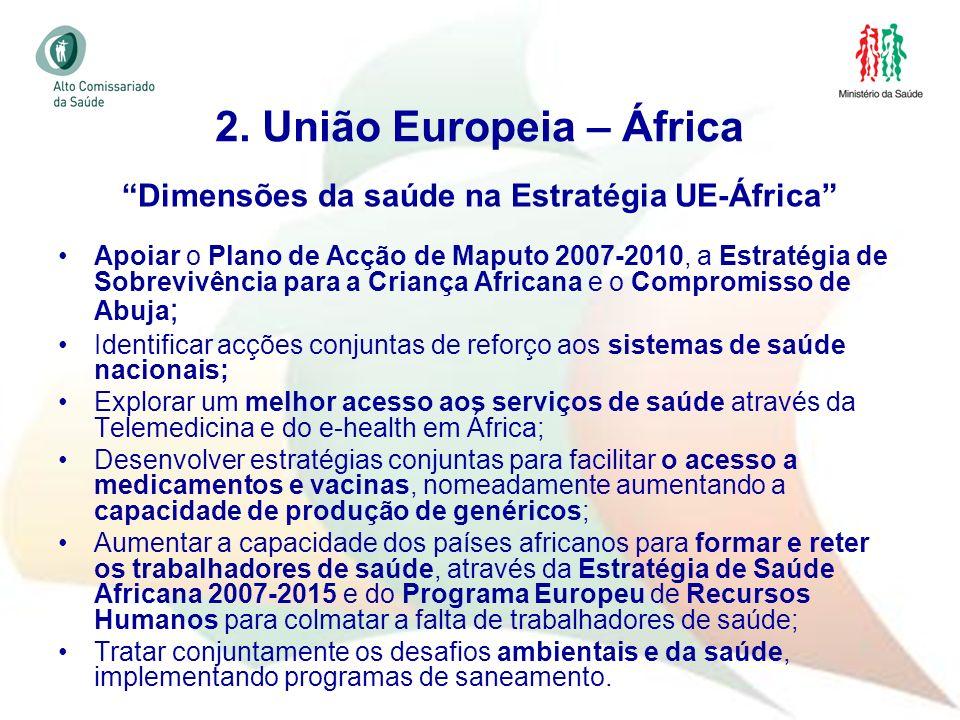 27 Dimensões da saúde na Estratégia UE-África Apoiar o Plano de Acção de Maputo 2007-2010, a Estratégia de Sobrevivência para a Criança Africana e o C