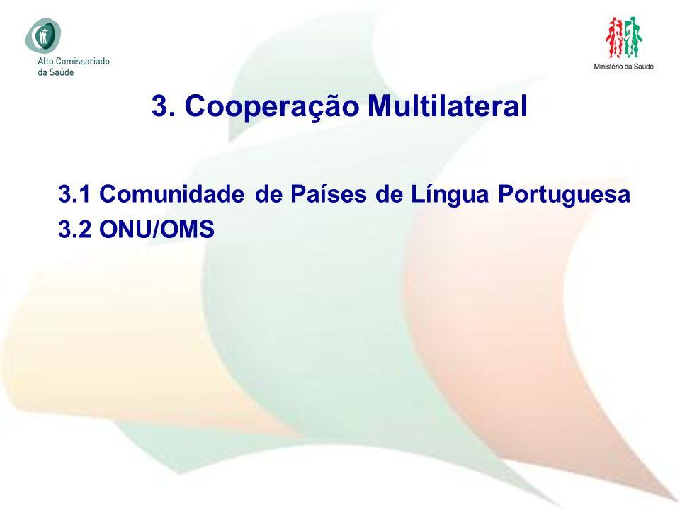 29 3.1 Comunidade de Países de Língua Portuguesa 3.2 ONU/OMS 3. Cooperação Multilateral