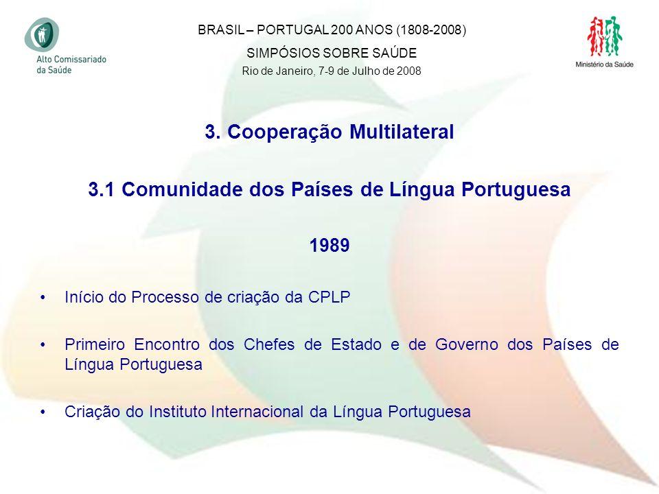 30 3. Cooperação Multilateral 3.1 Comunidade dos Países de Língua Portuguesa 1989 Início do Processo de criação da CPLP Primeiro Encontro dos Chefes d