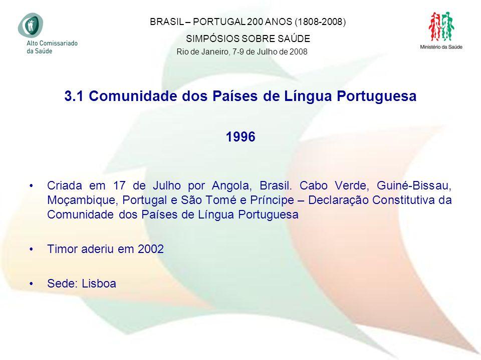 31 3.1 Comunidade dos Países de Língua Portuguesa 1996 Criada em 17 de Julho por Angola, Brasil. Cabo Verde, Guiné-Bissau, Moçambique, Portugal e São