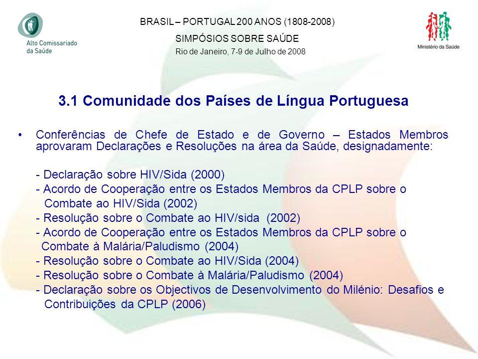 33 3.1 Comunidade dos Países de Língua Portuguesa Conferências de Chefe de Estado e de Governo – Estados Membros aprovaram Declarações e Resoluções na