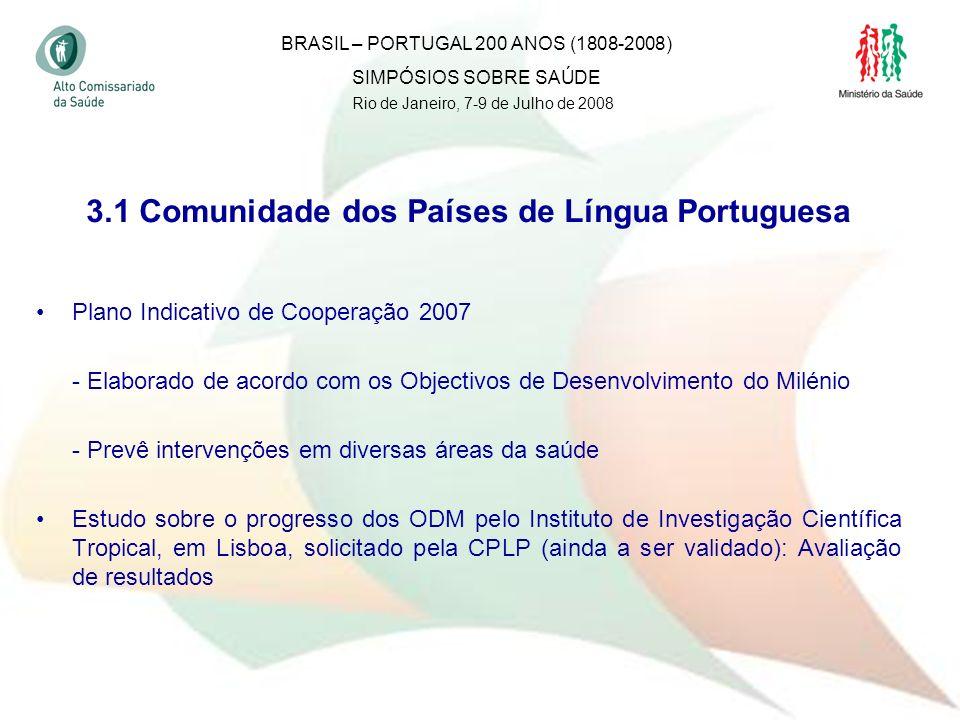 34 3.1 Comunidade dos Países de Língua Portuguesa Plano Indicativo de Cooperação 2007 - Elaborado de acordo com os Objectivos de Desenvolvimento do Mi