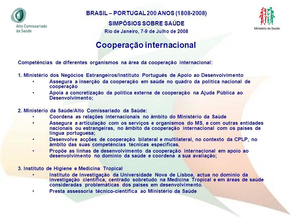 5 Cooperação internacional Competências de diferentes organismos na área da cooperação internacional: 1. Ministério dos Negócios Estrangeiros/Institut