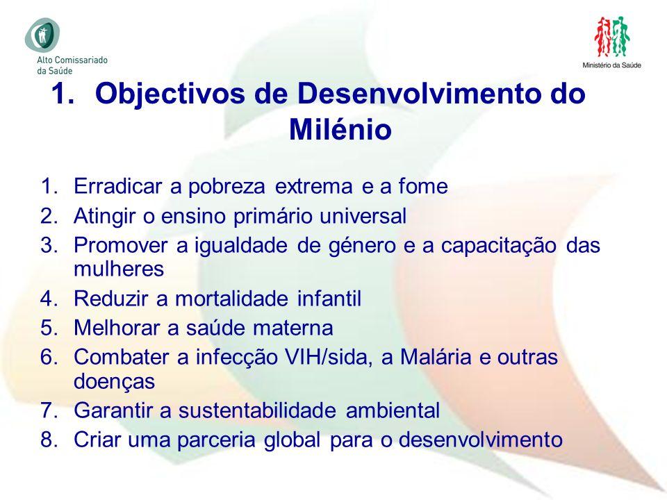 6 1.Erradicar a pobreza extrema e a fome 2.Atingir o ensino primário universal 3.Promover a igualdade de género e a capacitação das mulheres 4.Reduzir