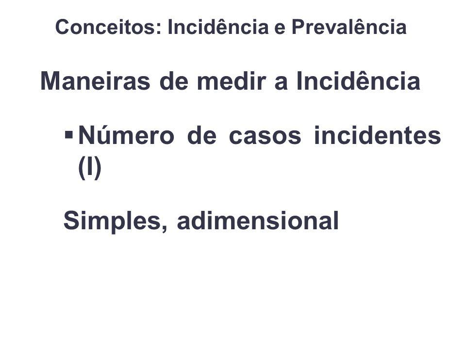 Maneiras de medir a Incidência Número de casos incidentes (I) Simples, adimensional Conceitos: Incidência e Prevalência