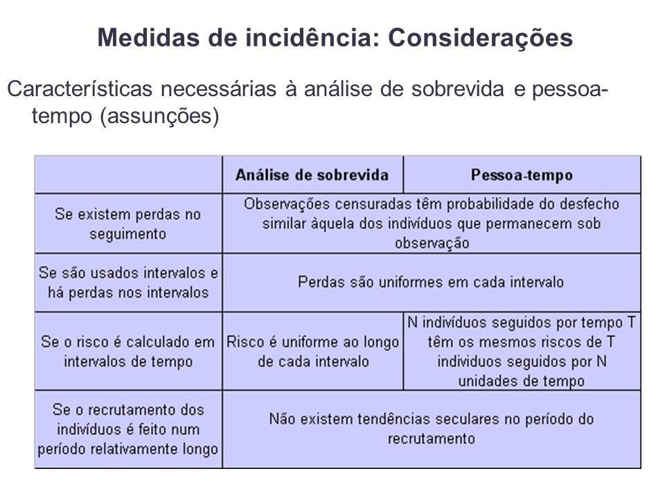 Características necessárias à análise de sobrevida e pessoa- tempo (assunções)