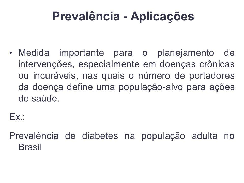 Prevalência - Aplicações Medida importante para o planejamento de intervenções, especialmente em doenças crônicas ou incuráveis, nas quais o número de portadores da doença define uma população-alvo para ações de saúde.