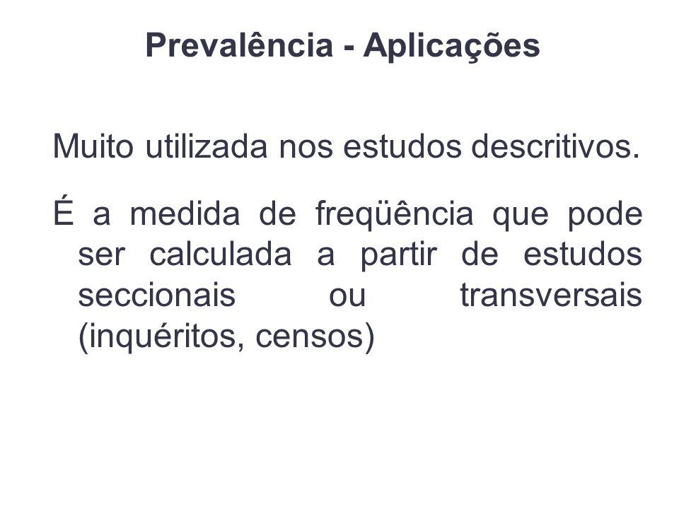 Prevalência - Aplicações Muito utilizada nos estudos descritivos.