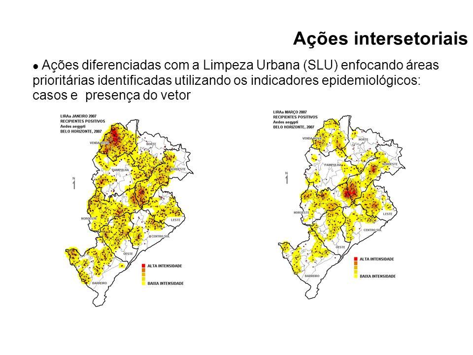 Ações diferenciadas com a Limpeza Urbana (SLU) enfocando áreas prioritárias identificadas utilizando os indicadores epidemiológicos: casos e presença