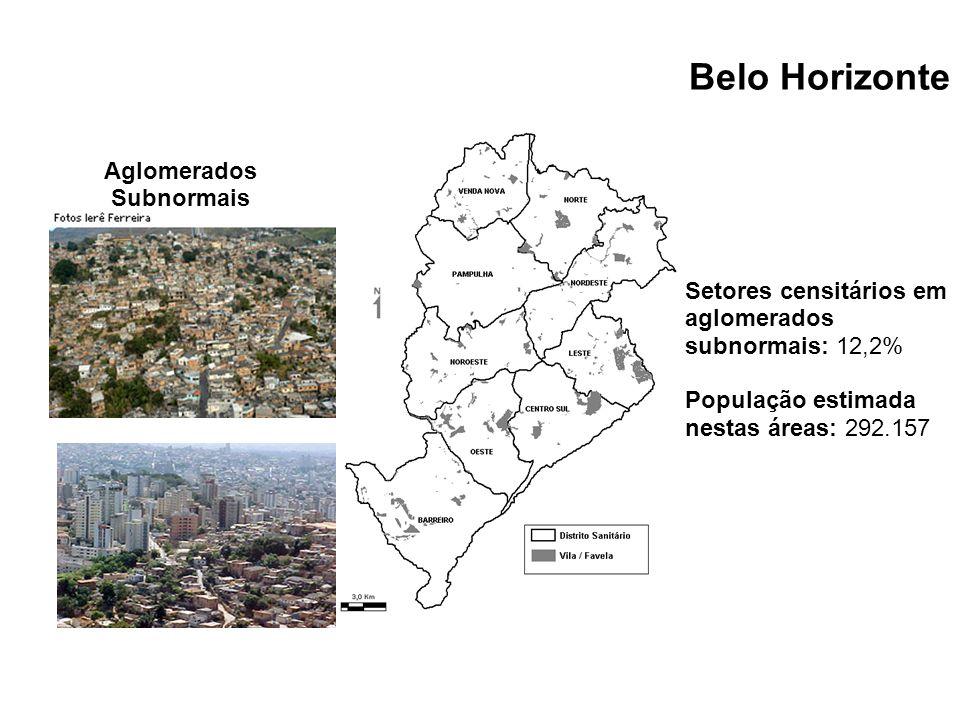Setores censitários em aglomerados subnormais: 12,2% População estimada nestas áreas: 292.157 Aglomerados Subnormais Belo Horizonte