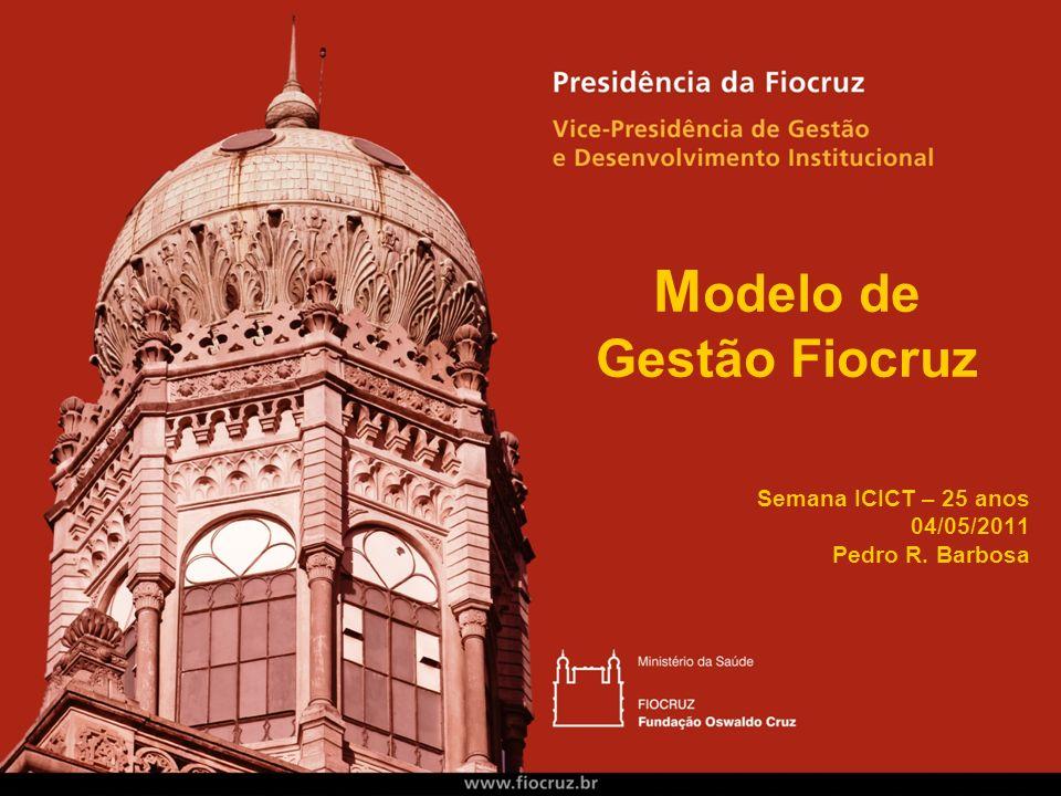 M odelo de Gestão Fiocruz Semana ICICT – 25 anos 04/05/2011 Pedro R. Barbosa