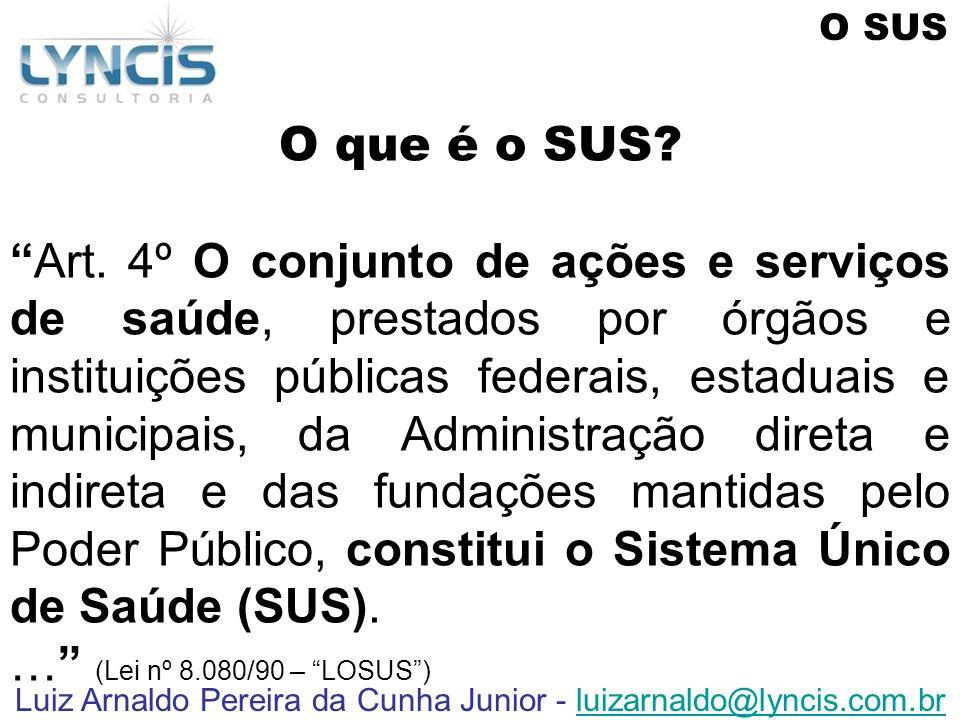 Luiz Arnaldo Pereira da Cunha Junior - luizarnaldo@lyncis.com.brluizarnaldo@lyncis.com.br O que é o SUS? Art. 4º O conjunto de ações e serviços de saú