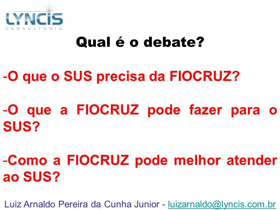 Luiz Arnaldo Pereira da Cunha Junior - luizarnaldo@lyncis.com.brluizarnaldo@lyncis.com.br Qual é o debate? -O que o SUS precisa da FIOCRUZ? -O que a F