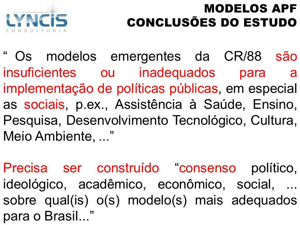Os modelos emergentes da CR/88 são insuficientes ou inadequados para a implementação de políticas públicas, em especial as sociais, p.ex., Assistência