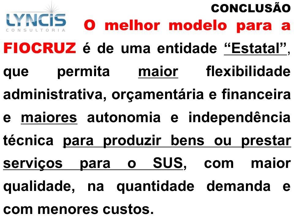 CONCLUSÃO O melhor modelo para a FIOCRUZ é de uma entidade Estatal, que permita maior flexibilidade administrativa, orçamentária e financeira e maiore