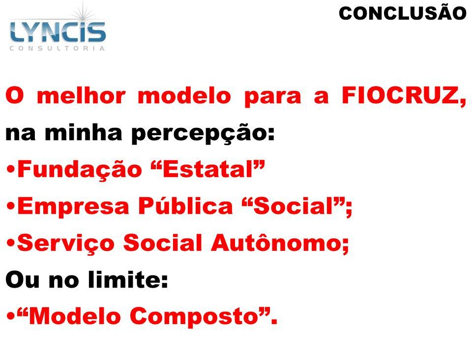 CONCLUSÃO O melhor modelo para a FIOCRUZ, na minha percepção: Fundação Estatal Empresa Pública Social; Serviço Social Autônomo; Ou no limite: Modelo C