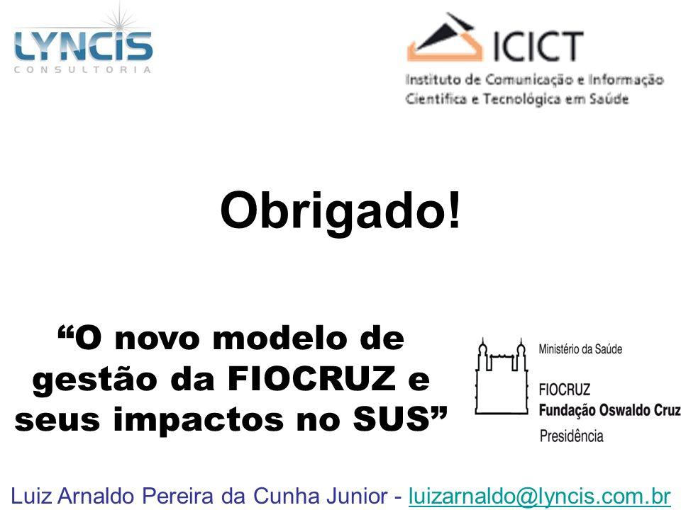 Luiz Arnaldo Pereira da Cunha Junior - luizarnaldo@lyncis.com.brluizarnaldo@lyncis.com.br O novo modelo de gestão da FIOCRUZ e seus impactos no SUS Ob