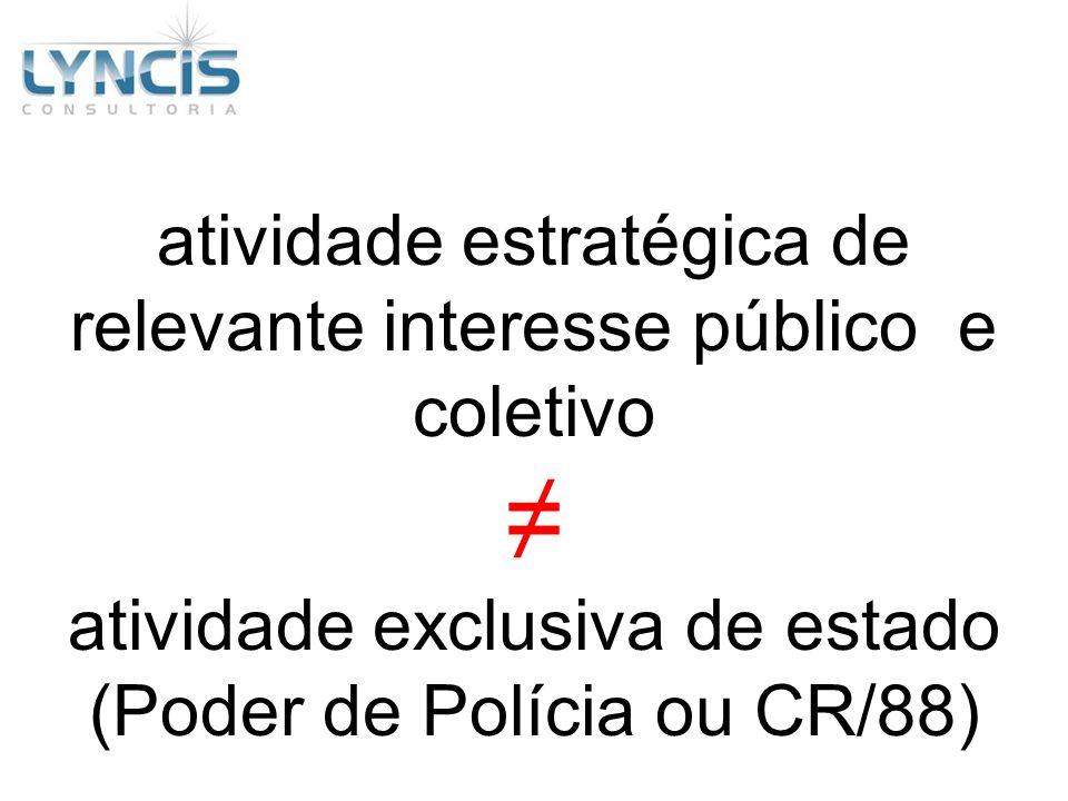 atividade estratégica de relevante interesse público e coletivo atividade exclusiva de estado (Poder de Polícia ou CR/88)