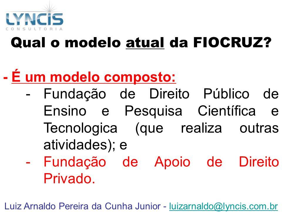 Luiz Arnaldo Pereira da Cunha Junior - luizarnaldo@lyncis.com.brluizarnaldo@lyncis.com.br Qual o modelo atual da FIOCRUZ? - É um modelo composto: -Fun