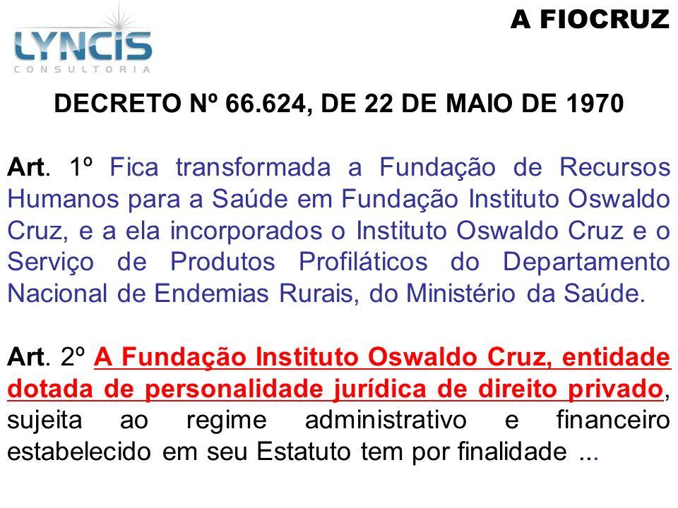 A FIOCRUZ DECRETO Nº 66.624, DE 22 DE MAIO DE 1970 Art. 1º Fica transformada a Fundação de Recursos Humanos para a Saúde em Fundação Instituto Oswaldo