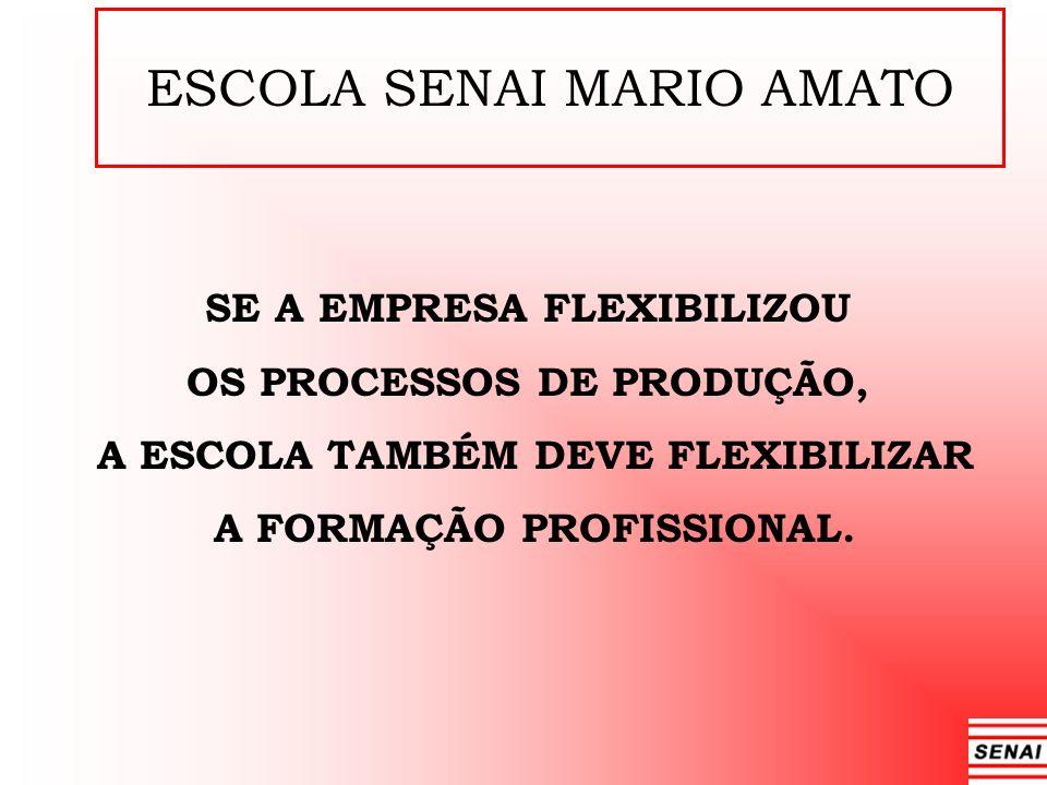 ESCOLA SENAI MARIO AMATO SE A EMPRESA FLEXIBILIZOU OS PROCESSOS DE PRODUÇÃO, A ESCOLA TAMBÉM DEVE FLEXIBILIZAR A FORMAÇÃO PROFISSIONAL.