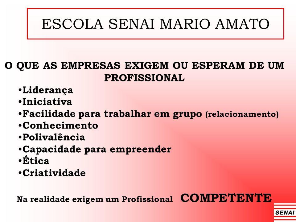 ESCOLA SENAI MARIO AMATO O QUE AS EMPRESAS EXIGEM OU ESPERAM DE UM PROFISSIONAL Liderança Iniciativa Facilidade para trabalhar em grupo (relacionament