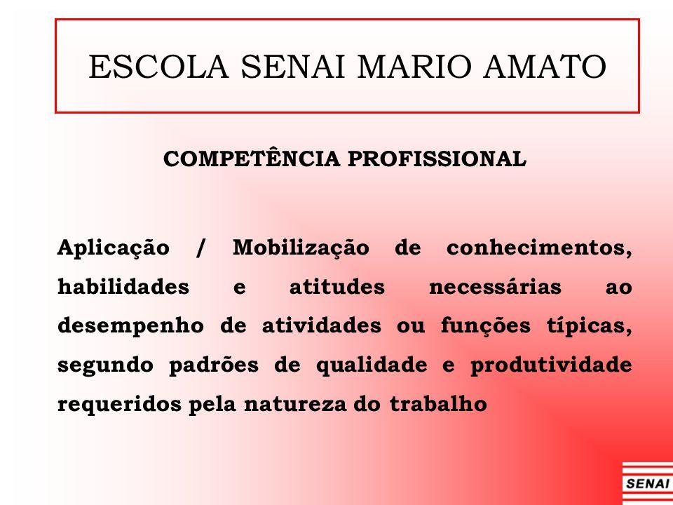 ESCOLA SENAI MARIO AMATO COMPETÊNCIA PROFISSIONAL Aplicação / Mobilização de conhecimentos, habilidades e atitudes necessárias ao desempenho de ativid